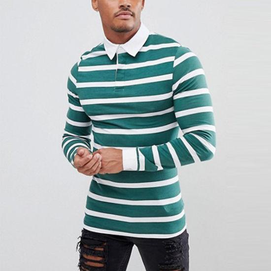 Muscle Long Sleeve Custom Striped Men Cotton Polo-Shirt
