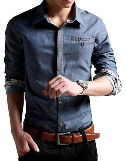 Men's Oxford Casual Shirt Long Sleeve Button Down Dress Shirt Slim Fit