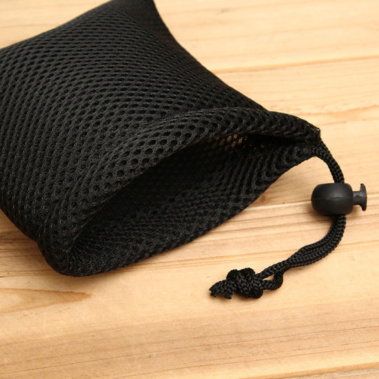 Promotional Cheap Small Black Sandwich Mesh Drawstring Packaging Bag, Gift Packing Pouch