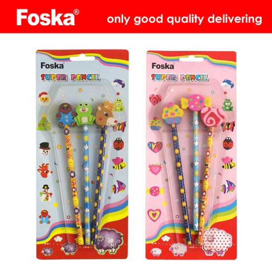 Foska Cartoon Design Pencil with Topper Eraser pictures & photos