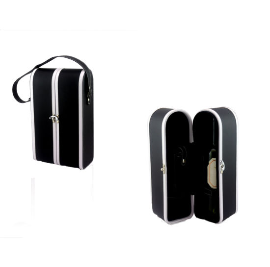 Black PU Leather 2 Bottles Wine Carrying Box (5868) pictures & photos
