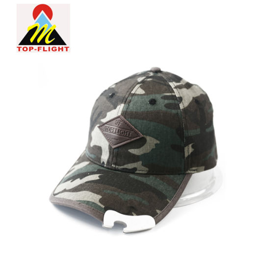 Camouflage-Printed with Leather Patch Logo and Metal Buckle on Brim Baseball Cap