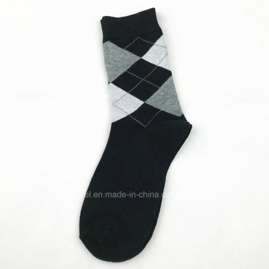 b2d4717cb881 fashion Rhombus Men Cotton Dress Socks Autumn Crew Socks Stock Wholesale