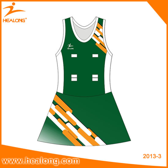 Healong Sublimation Women Team Netball Uniforms Dresses Skirts pictures & photos