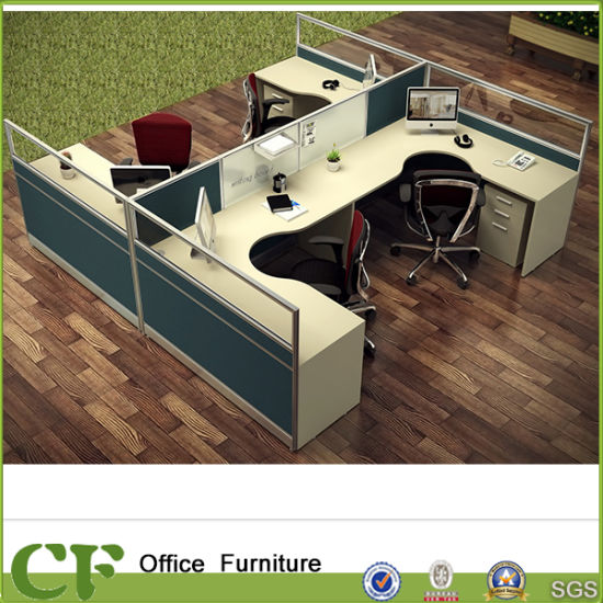 New L Shape Glass Dividers 4 Person Office Partition Workstation Computer Table