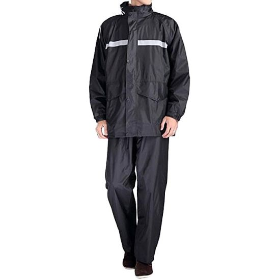 Adult Non-Disposal 190t Polyester Nylon Raincoat with Reflective Strips pictures & photos