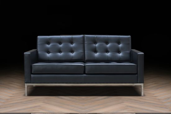 Leather Material Wooden Inner Frame Office Florence Knoll Sofa
