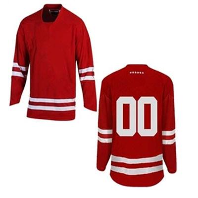 Custom Cheap Team Set Sublimated Custom Made Red Ice Hockey Jerseys
