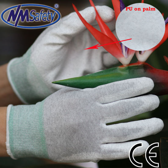 Nmsafety Nylon-Carbon Liner Palm Fit Antistatic PU Work Glove