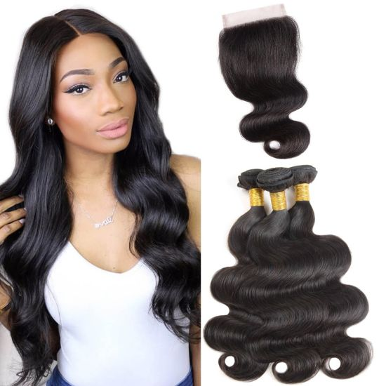 Top Grade Body Wave with Lace Closure 100% Human Hair Natural Color Hair Weaving