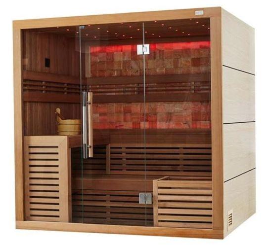 Wholesale Harvia Heater Canadian Cedar Wood Colorful LED Light Dry Sauna Room M-6055