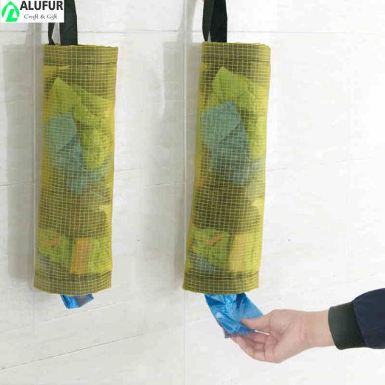 Mesh Cabinet Kitchen Storage Organizer Holder Plastic Bag Holder and Dispenser