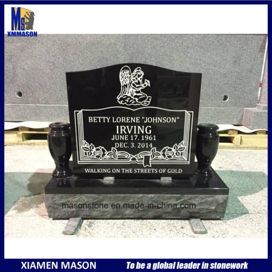 American Modern Style Black Granite Headstone pictures & photos
