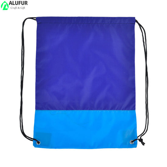 Eco Friendly Textile Drawstring Bags Two-Tone Cinch Bag for Packaging Storage