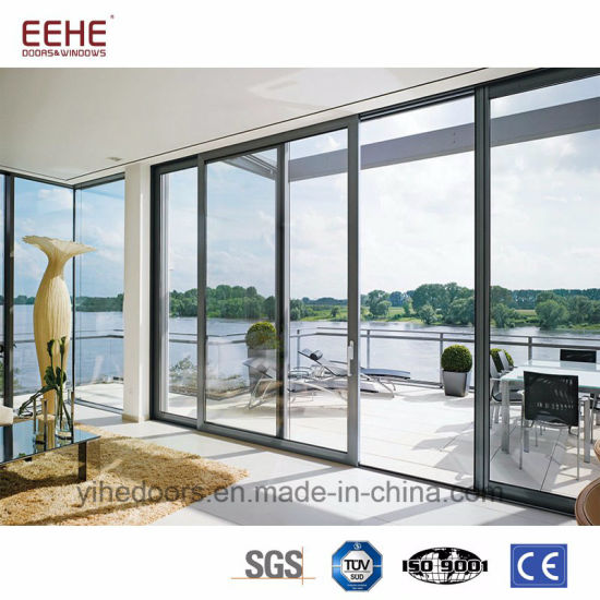 China Powder Coated Aluminum Tempered Glass Door Sliding Door