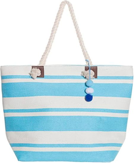 Striped Straw Beach Bags Tote with Zipper and Rope Handle