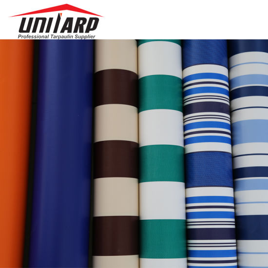 Anti Mildew PVC Striped Tarpaulin Roll Material for Awning Tent Cover