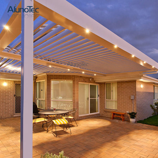 Outdoor Lighting Ideas And Options: Luxury Chinese Aluminum Louver Roof Garden Pavilion