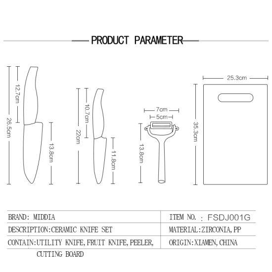 China 4 Pieces Kitchen Set Ceramic Knives Peeler Chopping Board