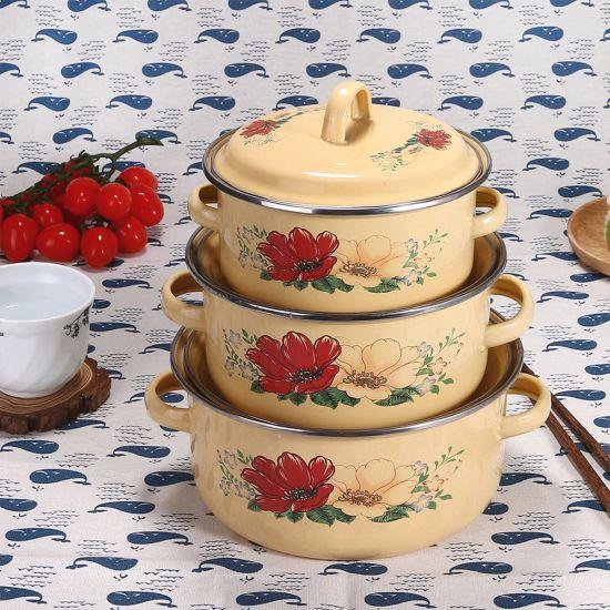 Enamel Kitchenware Set Cover 3PCS, Enamel Casserole Cookware Set (111D/671D)