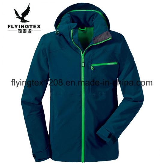 Men 100% Polyester Jacquard 3 Layers Zipper Hoodie Jacket