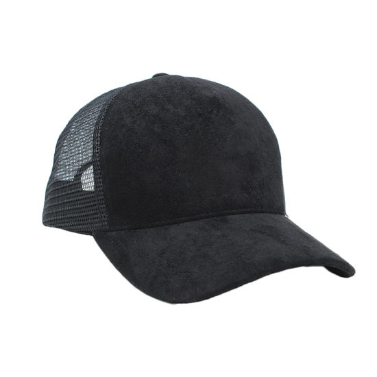 a10201c6ad China Custom Plain Blank Black Suede Mesh Cap Trucker Hat - China ...