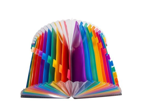 Expanding File Folder 24 Pockets Large Plastic Rainbow Expandable File Organizer Standing Accordion A4 Document Folder Wallet pictures & photos