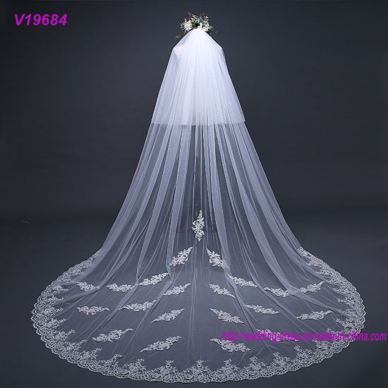2 Layers Soft Women Lace Edge Cathedral Veils Bridal Veil