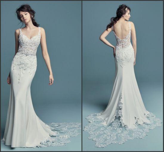 China Mermaid Bridal Gowns Spaghetti Straps Lace Wedding Dres 2019 ...