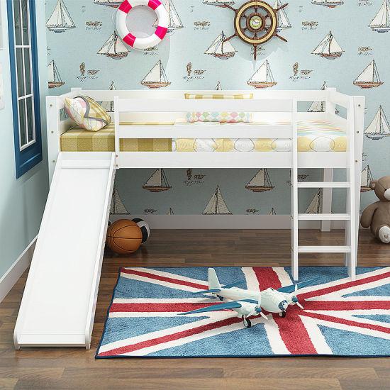 Junior Loft Bed, Kids Furniture Wood Bunk Bed with Slide