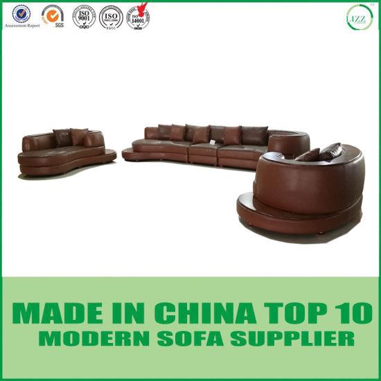 Divani Casa Modern Lounge Rounded Corner Leather Sectional Sofa