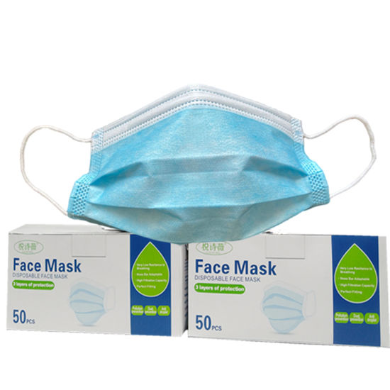 Factory Wholesale 3 Ply Disposable Nonwoven/Meltblow Protective 3ply Face Mask, Dust Facial Mask, Respirator Mouth Safety Mask