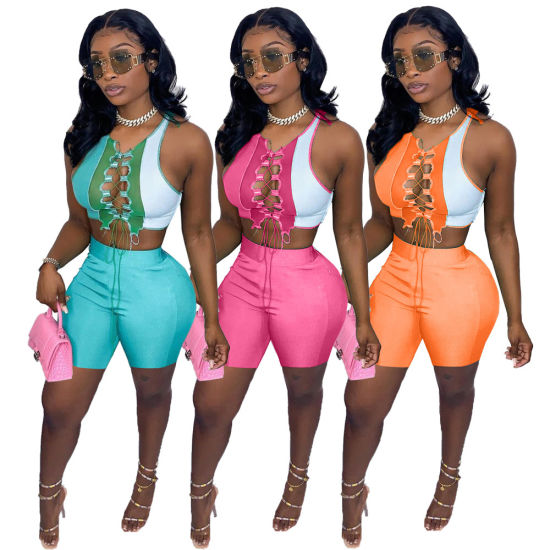 Trending New Designer Women Bodycon Suit Collision Color Splicing Sexy Band Hollowing out Two Piece Outfit