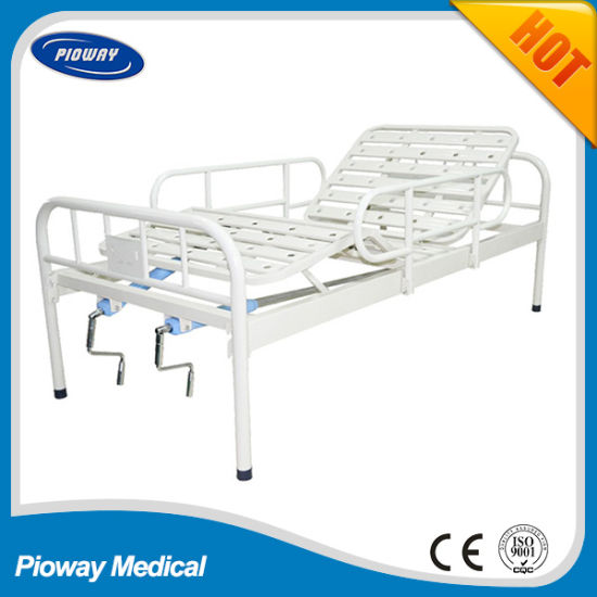 Powder Coated Hospital Bed, One or Two Crank Manual Patient Bed, Mattress, Castor, IV Pole, Dinner Table, Guardrail Optional (PW-B03)