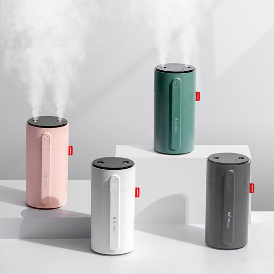 Induction Type Smart Portable Double Mist Air Humidifier Wireless Rechargeable 2000mAh Battery Infrared Sensor 800ml USB Mini Humidifier
