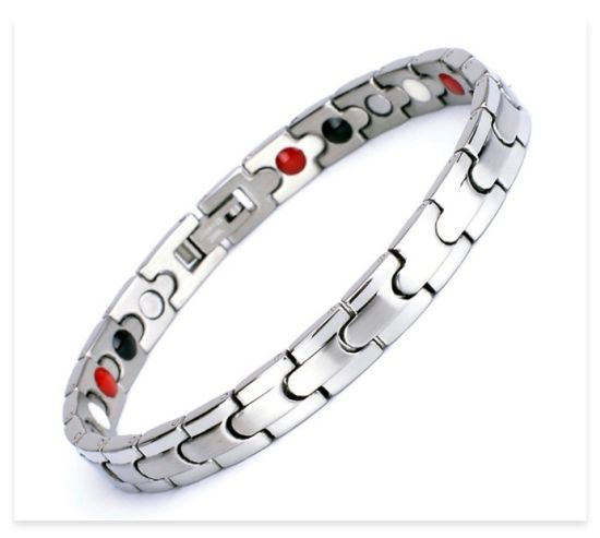 Stainless Steel Magnet Germanium 4 in 1 Therapy Energy Relief Health Bracelet-FQ