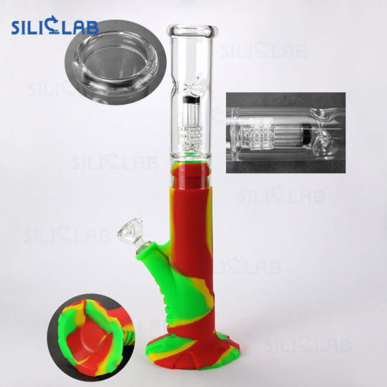 18inch Wholesale Price Silicone Bottom DAB Rig Oil Rigs Water Pipe with Glass Percolator