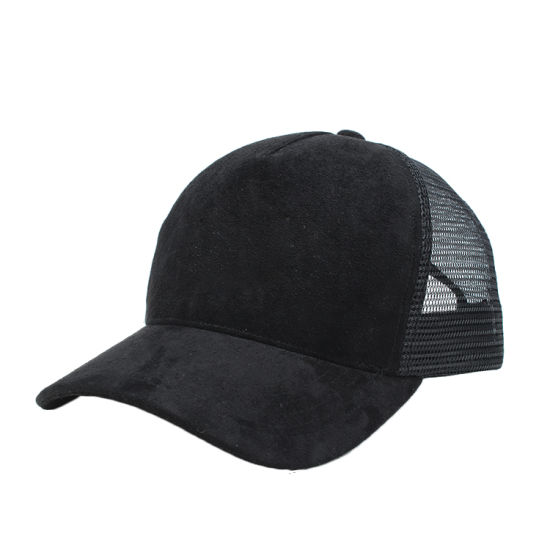 02c13f3884b China Custom Plain Blank Black Suede Mesh Cap Trucker Hat - China ...