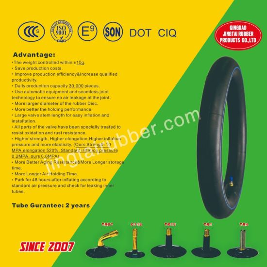 Professional ISO Standard New OEM 16 Inch Tr4 Valve Motorcycle Natural Inner Tube (3.25-16)