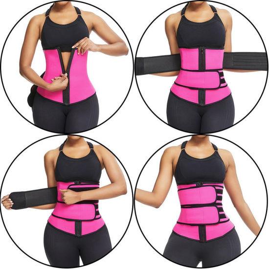 Women Trimmer Gym Fitness Sport Shapewear Sweat Belt Waist Cincher Trainer Body Building Shapers with 2 Bands