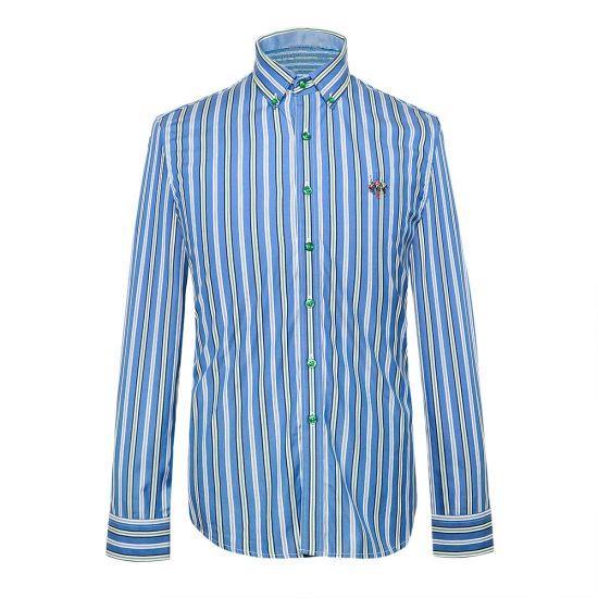 Butttoned Down Long Sleeve Stripe Cotton Mens Business Shirt