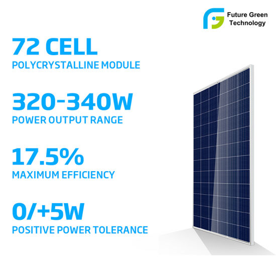 72 Cells 320W to 340W Solar Energy Power Poly PV Panel