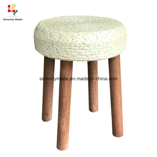 Antique Kitchen Bar Cafe Outdoor Rattan Seat Wooden Frame Low Bar Rope Stool