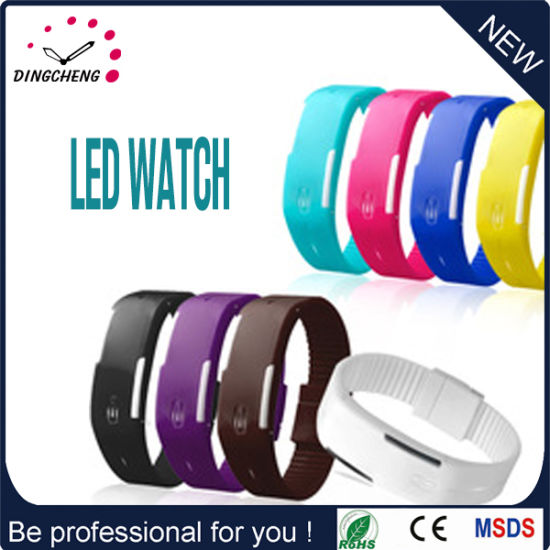 Sport LED Watches Candy Color Silicone Rubber Touch Screen Digital Watches, Waterproof Bracelet Wristwatch Women Dress Watches (DC-044)