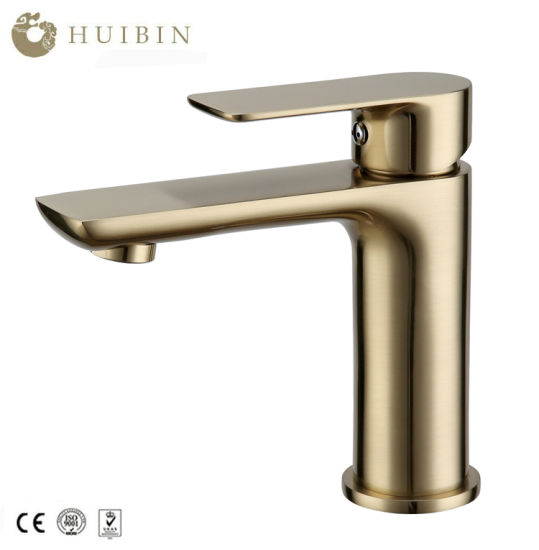 European Style Luxury Gold Painting Two Size Faucet Bathroom Accessories Deck Mounted Basin Water Tap pictures & photos