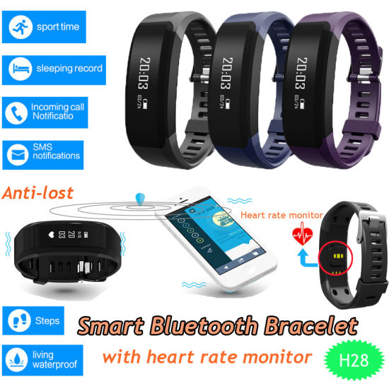 Heart Rate Monitor Bluetooth Smart Bracelet with OLED Display H28 pictures & photos