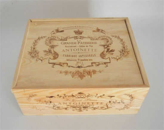 Quality Cheap Varnished Laser Engraved Wooden Box for Wine pictures & photos