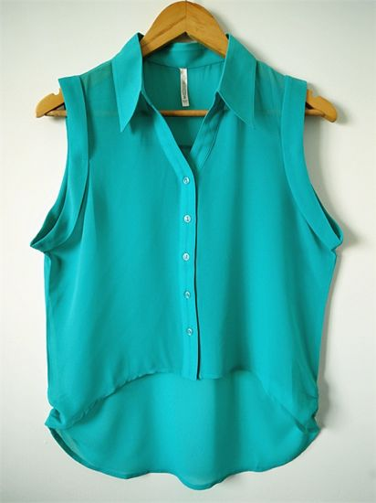Women Fashion Clothes Casual Straight Sleeveless Chiffon Blouse Shirt pictures & photos
