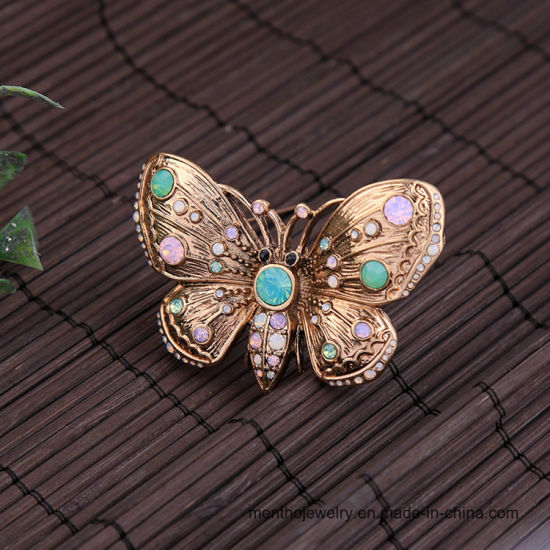 Retro Fashion Jewelry Animal Colorful Butterfly Rhinestone Brooch pictures & photos