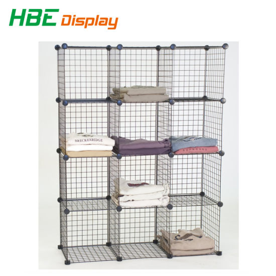 Merveilleux DIY Dssemble Metal Wire Cube T Shirt Storage Stacking Rack